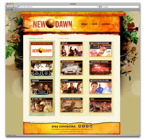 New Dawn Films Film Web Design